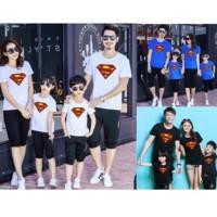 Family 2 Anak Couple Superman Baju Kaos Keluarga Ayah Bunda Mom Dad -