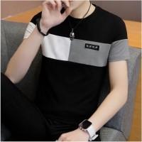 New!! T-Shirt Pria Kaos Polos Kombinasi Keren Bahan Cotton Combed Adem