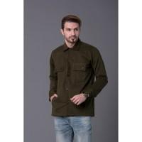Baju Jaket Kemeja Pria Semi Parka Bahan Cotton Baby Canvas Premium