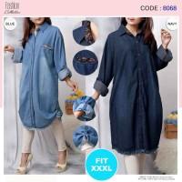 Baju Atasan Tunik Jeans Jumbo / Kemeja Tunik Jeans Wanita Jumbo 8068
