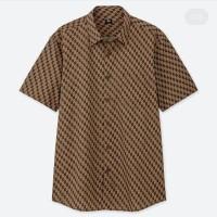 Kemeja Batik Baju Batik Merk Uniqlo Original Gray. Biru. Maroon. Cokla