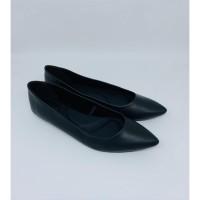 Women Flat Shoes Black Genuine Leather 100% Sepatu Kerja Wanita Uk.36