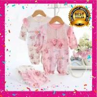 Set Flowery Jumpsuit Lace with Hat/ Romper Jumper Panjang Bayi Setelan - Merah Muda