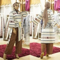 setelan celana kulot atasan blouse tunik ethnic tenun blanket AT002