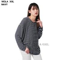 Baju Atasan Kaos Wanita Salur Cewek Lengan Panjang Viola