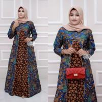 Baju dress gamis wanita batik kombinasi ukuran XXL ld 110 motif bunga