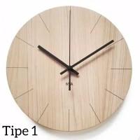 Jam Dinding Kayu 3 Tipe / Artistic / Scandinavian / Modern / Minimalis