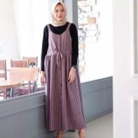 BAJU WANITA ATASAN WANITA Overall Button Maxi Dress Salur CAIRO