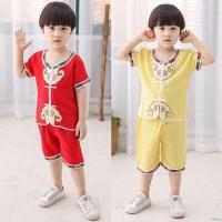 Setelan Kaos T-Shirt Katun Anak Laki-laki Lengan Pendek Gambar Cina