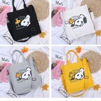 Tas Handbag / Bahu Tote Motif Kartun Snoopy Lucu Bahan Kanvas untuk
