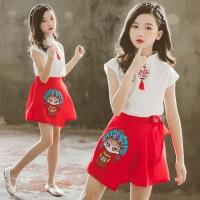 Setelan Kaos T-Shirt Anak Perempuan Lengan Pendek + Rok Gaya Cina