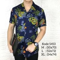 Kemeja floral pria lengan pendek tropical baju cowok casual