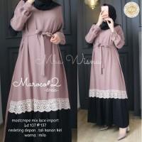 Baju gamis wanita terbaru Gamis Syari Renda Maroco Dress wanita murah