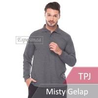 Kaos Polo Shirt Panjang Polos Esperanza Abu Misty Gelap Grosir Murah