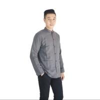 Baju Koko pria tangan panjang-yusuf size M/L cream,abu tua dan biru