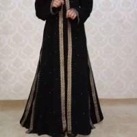 GAMIS WANITA JUBAH WANITA JET BLACK EXCLUSIVE ABAYA DUBAI STELYS