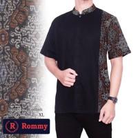 Kemeja / Baju Koko Muslim Pria eXe - Putih & Hitam Kombinasi Batik