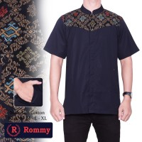 Kemeja / Baju Koko Muslim Pria Rommy - Hitam Kombinasi Batik Parang