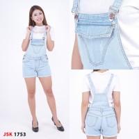 Baju Kodok Celana Overall Pendek Jeans biru muda (big size ada)