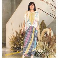 Setelan Batik Wanita Blus Cbt Carousel Kuda & Rok Ikat Parang Rainbow