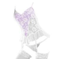 L0313 - Lingerie Bustier Baju Tidur Putih Sexy Garter Stocking Fishnet