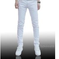 CHEAP MONDAY celana jeans pensil slimfit celana panjang pria putih
