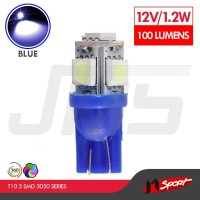 Lampu LED Mobil/Motor/Senja T10 W5W/Wedge Side 5 SMD 5050 - Blue