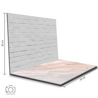 Alas Foto Lipat Bata Putih & Marmer Pink / Background Foto (BIL-19)