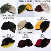Topi Bucket Hat / Bucket Hat Bolak Balik / Bucket Premium / Topi Polos - Navy Hitam