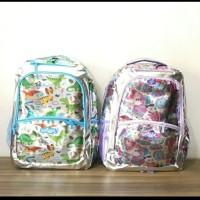 Tas Ransel Sekolah SD Smiggle Hologram Silver/Senior Backpack Smiggle - Purple Kerang