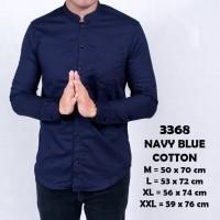 Baju Kemeja Pria Lengan Panjang Pria Kerah Shanghai Biru Navy Slimfit - Putih, M