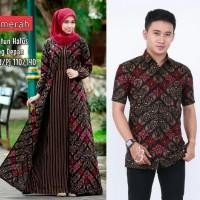 Baju dress couple gamis cardi wanita batik sarimbit kemeja pria motif