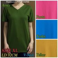 V-NECK Pendek XL /Kaos Polos Basic XL / t-shirt XL / Atasan wanita XL