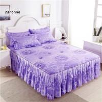 GA Bedcover 2 Layer Romantis Motif Bunga Aksen Ruffle Warna Ungu