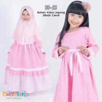 Gamis Anak Cutetrik VH13 Warna Soft Pink - Baju Muslim Anak VH 13