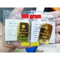 LOGAM MULIA 100 GR (GRAM)/LM/EMAS BATANGAN ANTAM SERTIFIKAT