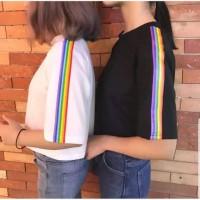 Baju Atasan Wanita RAINBOWY CROP TEE KAOS / RAINBOW TUMBLR TEE