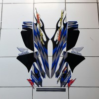 striping stiker Motor Supra Fit cw 2006 putih-biru