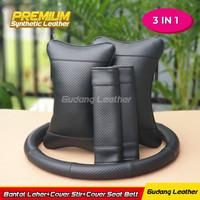Paket Bantal Leher Sarung Stir Cover Seat Belt Bahan Kulit Sintetis