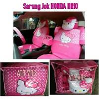 Sarung Jok Mobil HONDA BRIO Full Set Motif HELLO KITTY PINK Bintik Pu