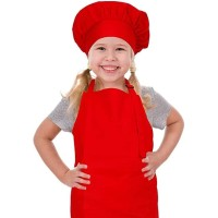 Apron Anak dan topi koki - Merah