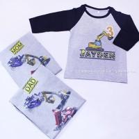 Kaos/Baju RAGLAN Couple ULANG TAHUN Ayah,Ibu, Anak,EKSKAVATOR, murah.
