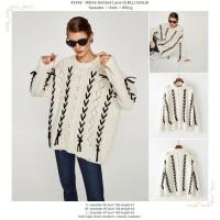 baju atasan sweater rajut jumbo putih tali bolong-bolong