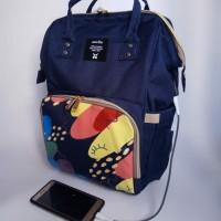 [KDS-1005] Anello Diaperbag Sablon USB Backpack / Tas Bayi
