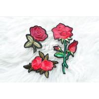 PAKET 3 Embroidery Bunga Iron Patch Bordir Emblem Tempelan Baju