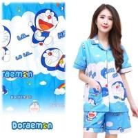 PIYAMA CELANA PENDEK HP / BAJU TIDUR KATUN WANITA | Doraemon Awan