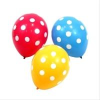 Balon Latex Motif Polkadot Warna Mix/Kuning Isi 100 Pcs