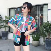 Kaos T-Shirt Model Longgar Lengan Pendek Print Lukisan untuk Wanita