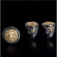 Cincin Emas Hitam Kepala singa Titanium Elegan cincin pria wanita