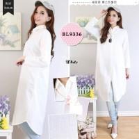 Kemeja tunik putih wanita / cewek bahan baloteli muslimah hijab size L